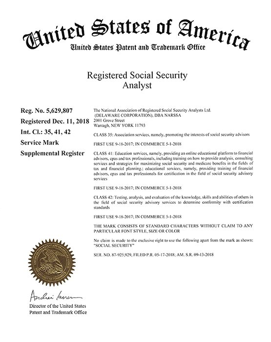 Registered Social Security Analyst Trademark